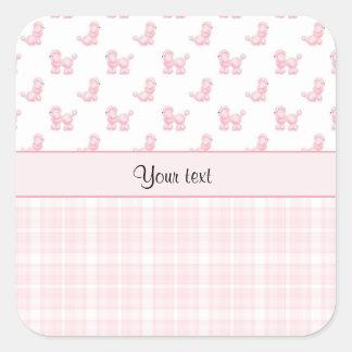 Caniches et contrôles roses de rose sticker carré