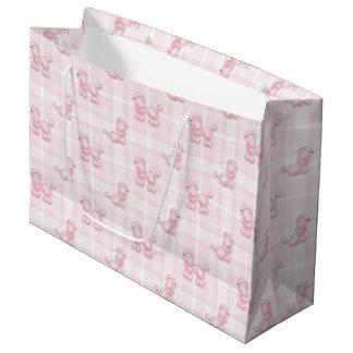 Caniches et contrôles roses mignons grand sac cadeau