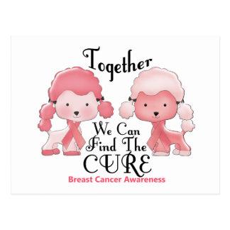 Caniches roses ensemble 2 de cancer du sein carte postale