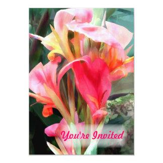 Cannas rose vous êtes invités carton d'invitation  12,7 cm x 17,78 cm
