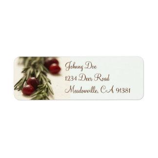 Canneberges et étiquette de Rosemary Avery