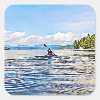 Canoë ou kayak sur des autocollants de lac