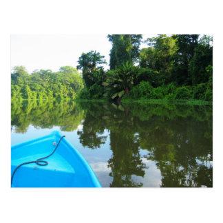 Canoë sur la rivière dans Tortuguero, Costa Rica Carte Postale
