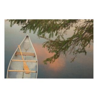 Canoë sur le lac au coucher du soleil, Canada Impression Sur Bois