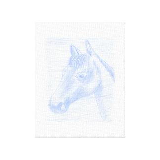 Canvas Print dessin de Cheval Bleu et Blanc Toile
