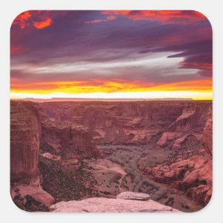 Canyon de Chelly, coucher du soleil, Arizona Sticker Carré