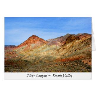 Canyon de Titus, carte de note de Death Valley
