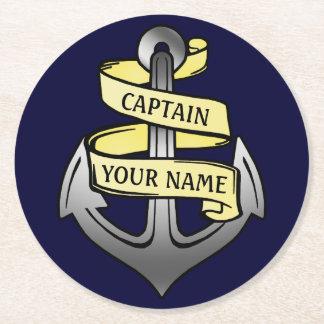 Capitaine de bateau personnalisable votre ancre dessous-de-verre rond en papier