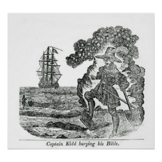 Capitaine Kidd Burying His Bible, illustration Posters