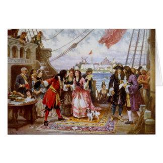 Capitaine Kidd de pirate dans le port de NY Carte De Vœux