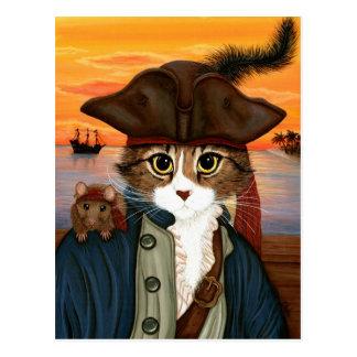 Capitaine Lion, chat de pirate et carte postale
