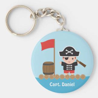 Capitaine mignon Ocean Raft Boy de pirate Porte-clé Rond