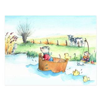 Capitaine Mouse sur la carte postale de bateau