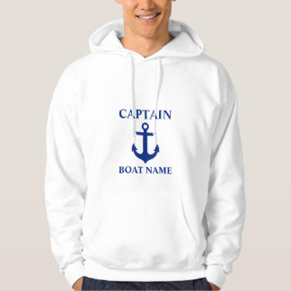 Capitaine nautique Boat Name Anchor White Veste À Capuche