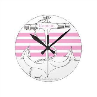 capitaine rose, fernandes élégants horloge ronde