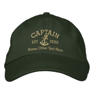 Capitaine With Anchor Personalized Casquette Brodée