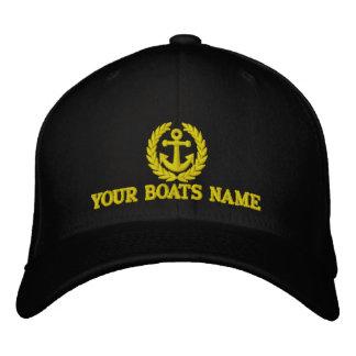 Capitaines personnalisés de nom de bateau à voile casquette brodée