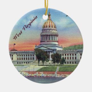 Capitol d'état de la Virginie Occidentale Ornement Rond En Céramique