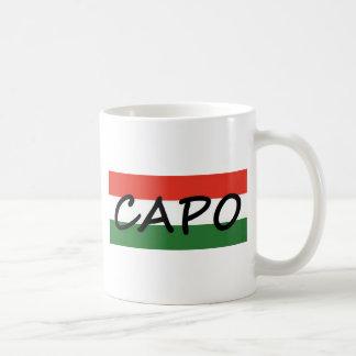 Capo avec les rayures vertes et rouges, style mug
