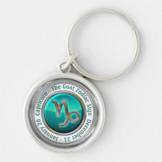 Capricorne - le signe de zodiaque de chèvre porte-clé rond argenté
