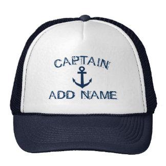 Captain le chapeau avec le nom nautique d'ancre et casquette de camionneur