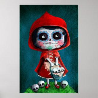Capuchon de rouge de Dia de los Muertos Little Affiche