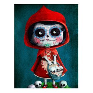 Capuchon de rouge de Dia de los Muertos Little Cartes Postales