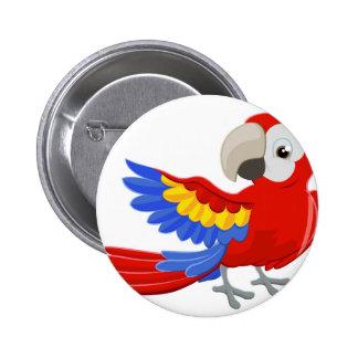 Caractère de perroquet de bande dessinée badges