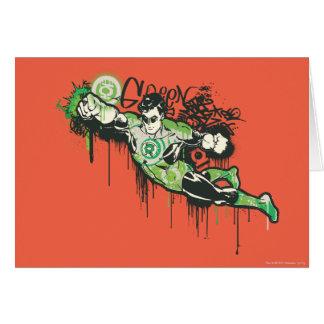 Caractère vert de graffiti de lanterne carte de vœux