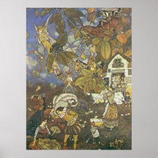 Caractères classiques vintages de livre de contes, poster