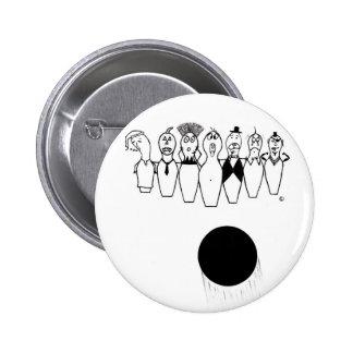 Caractères drôles de goupille de bowling badge