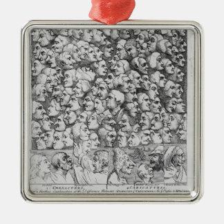 Caractères et caricatures ornement carré argenté