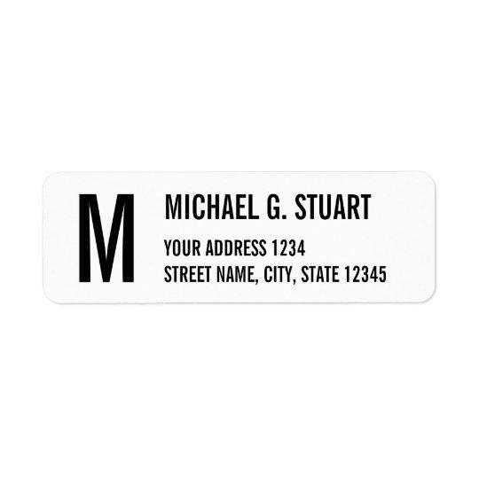 Caractères gras professionnels noirs et blancs de étiquette d'adresse retour