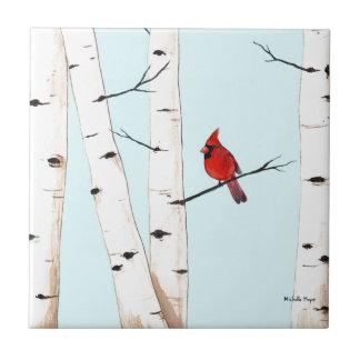 Cardinal avec des arbres de bouleau petit carreau carré
