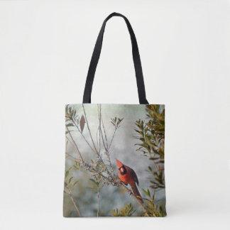 Cardinal du nord dans le sac fourre-tout au Myrte