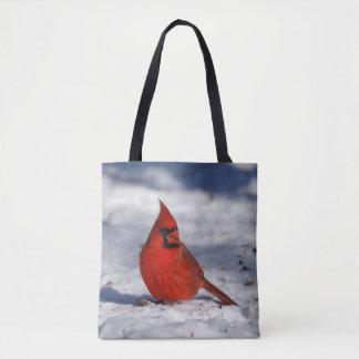 Cardinal du nord masculin dans la neige sac