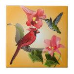 Cardinal et colibri avec les lis et le lierre rose carreau en céramique