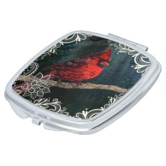 Cardinal rouge de Noël primitif floral blanc de Miroir De Maquillage