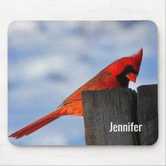 Cardinal rouge sur le tronçon en bois personnalisé tapis de souris