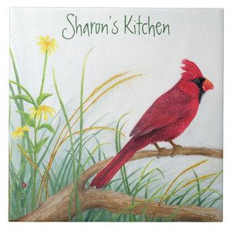Cardinal rouge - tuile personnalisable carreau
