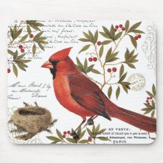 cardinal vintage moderne d'hiver tapis de souris
