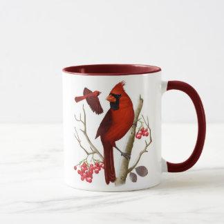 """""""Cardinaux dans"""" la tasse de café sauvage d'oiseau"""