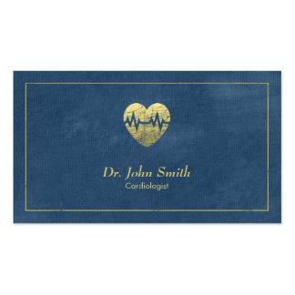 Cardiologue, cadre de toile bleue et coeur d'or carte de visite standard