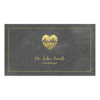 Cardiologue, cadre de toile grise et coeur d'or carte de visite standard