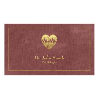 Cardiologue, cadre de toile rougeâtre et coeur carte de visite standard