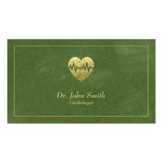 Cardiologue, cadre de toile verte et coeur d'or carte de visite standard