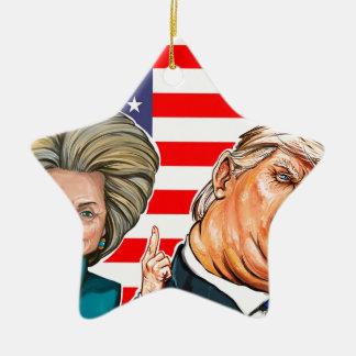 Caricature d'atout et de Hillary Ornement Étoile En Céramique