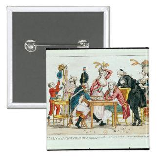 Caricature des échecs de jeu de Louis XVI Badge Carré 5 Cm