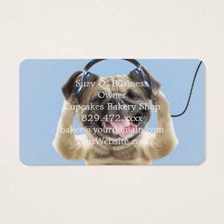 Carlin avec des écouteurs, carlin, animal familier cartes de visite