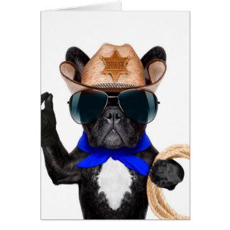 carlin de cowboy - cowboy de chien cartes de vœux